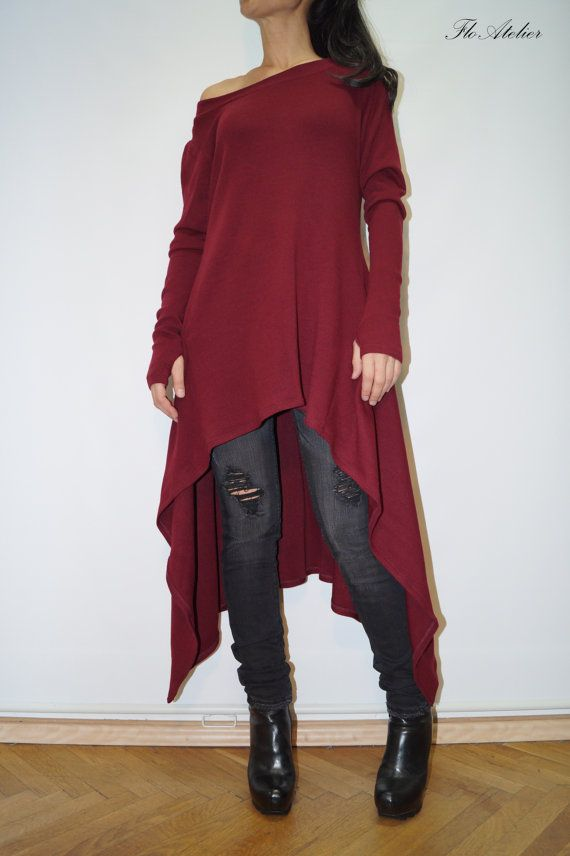 Red Asymmetrical Sweater/Cozy Pullover/ Sweater Dress/Knit ...