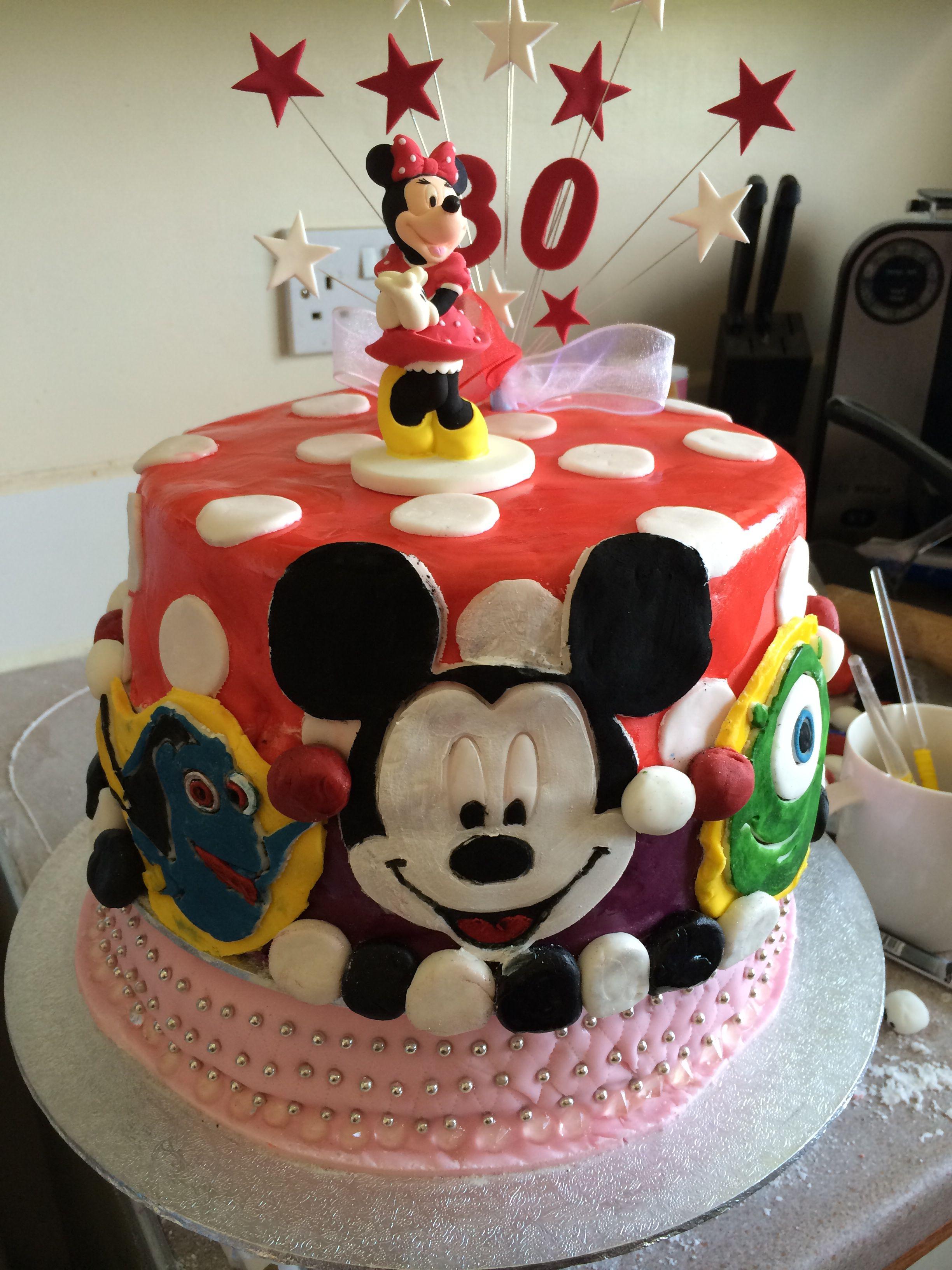 Superb Disney Themed 30Th Birthday Cake I Made With Images 30 Funny Birthday Cards Online Inifodamsfinfo
