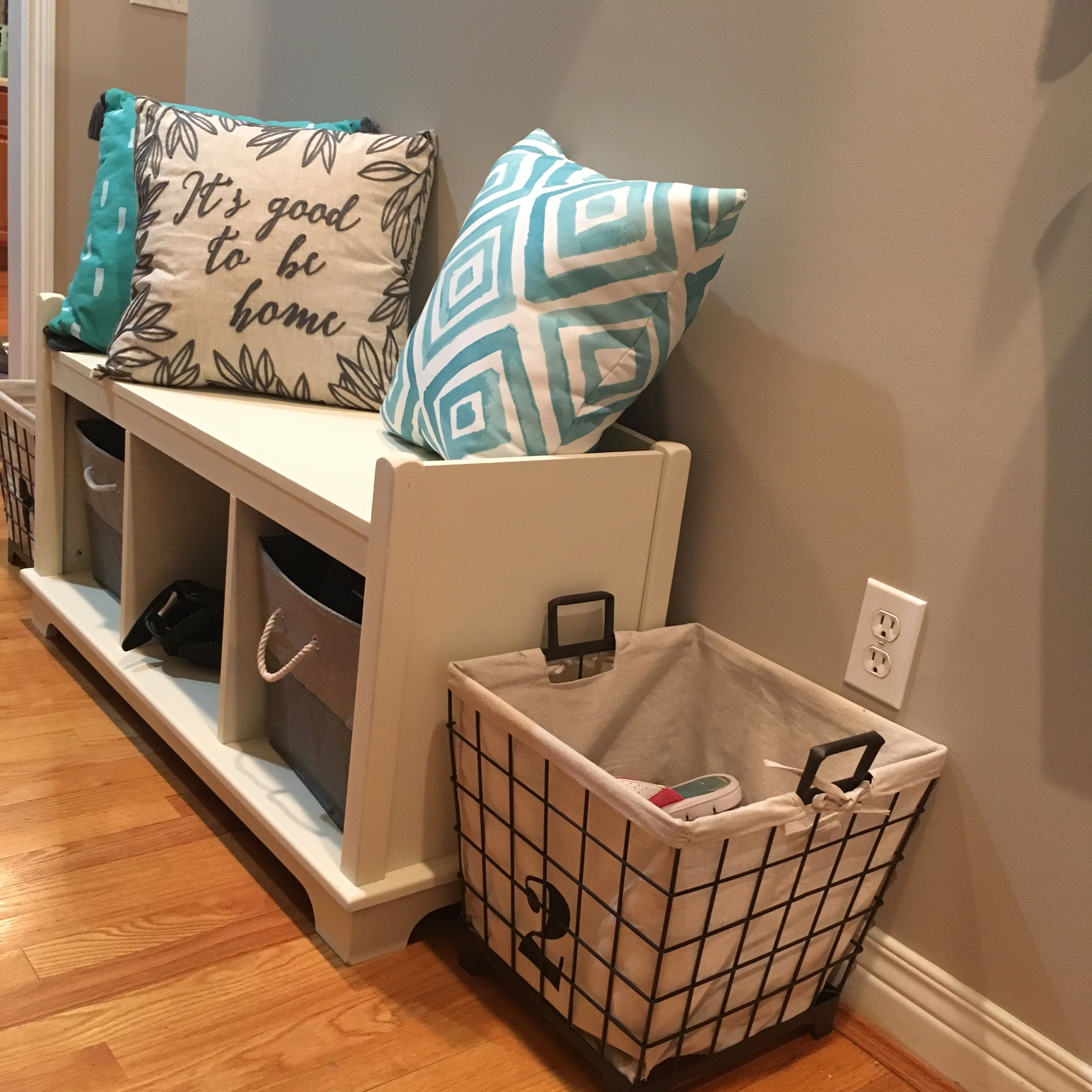 Shoe storage bench and baskets. Bench with shoe storage