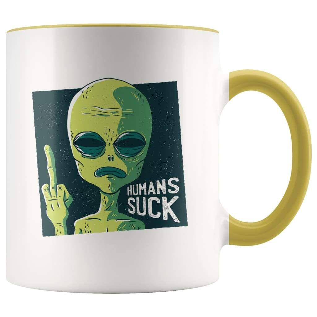 Humans Are not RealAlien Funny Coffee MugUFO Funny MugGreen Alien Head