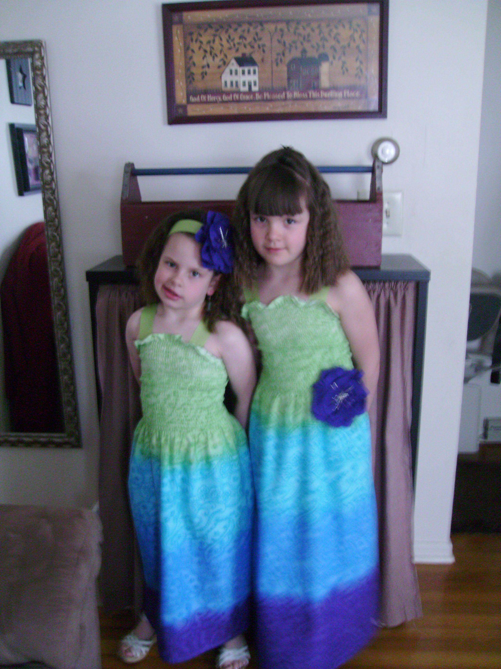 Another school project was to make their Easter dresses for school.  We chose a simple dress with 2 passes the hem and up the back to make the dress.