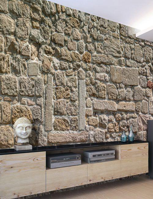 Carta da parati muro di pietre carta da parati fotomurale for Carta da parati effetto muro