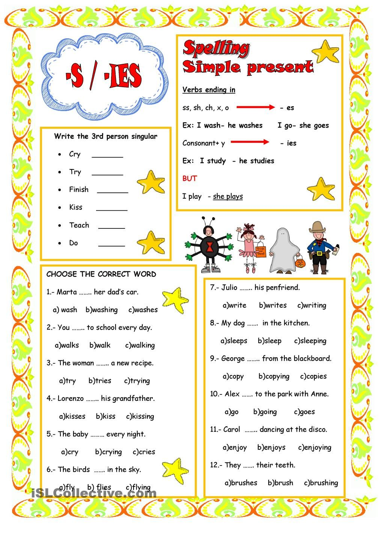 Worksheets Basic English Grammar Worksheets present simple 3rd person singular slp assistant pinterest english language grammar worksheetsschool