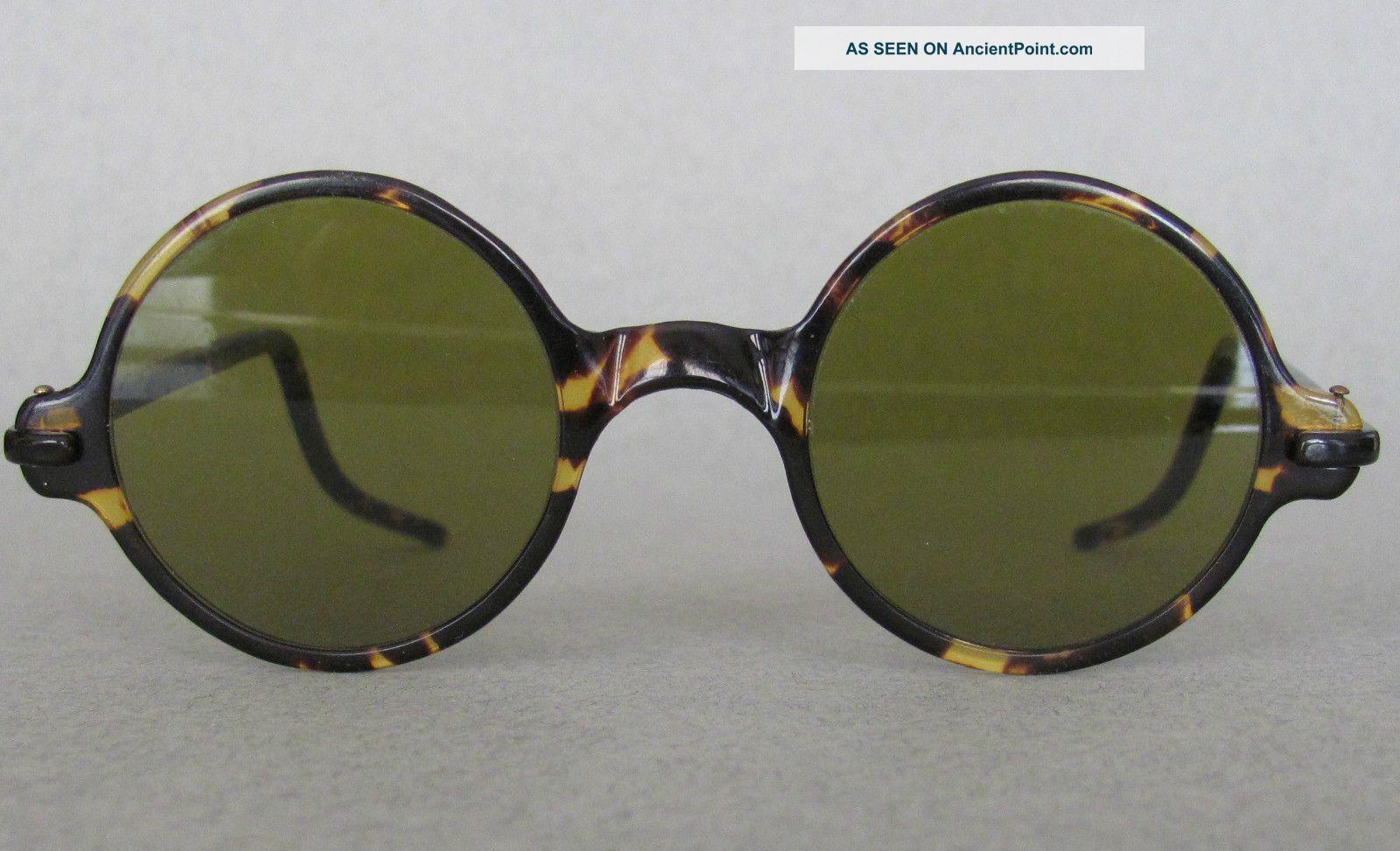 b679f27ece35 Antique Ca1890 Faux Tortoise Shell Sunglasses Round Frames Steampunk  Bakelite