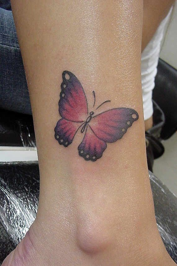 Pink Butterfly Tattoo On Ankle Tattoos For Women Ankle Tattoo Designs Butterfly Ankle Tattoos