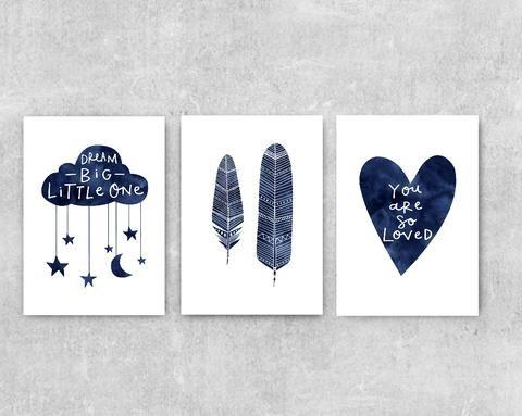 Baby Gift Set Of 3 Nursery Wall Art Navy Blue
