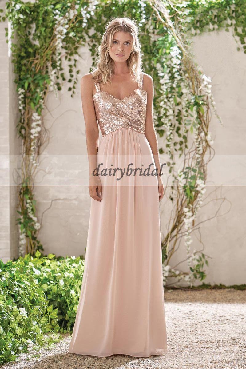 Mismatched Sequin Top Bridesmaid Dress Chiffon Floor Length D220