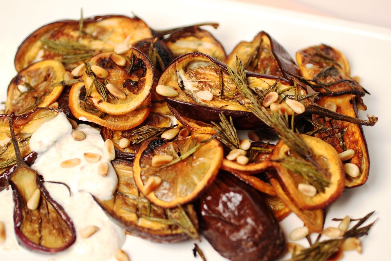 Roasted Rosemary Eggplant with Tahini Yogurt by ELLICSRkitchen.ca #Yum #Mediterranean