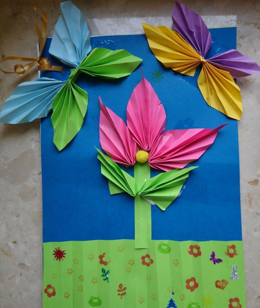 Wiosna Laurka Kwiat Motyle Origami Diy Art Activities For Kids Art Activities Art Activities For Kids Diy Art