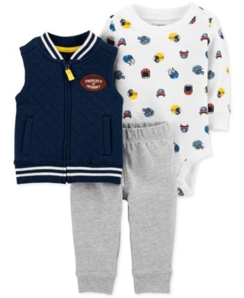 63d8b96e8 Carter's Baby Boys 3-Pc. Fleece Vest, Bodysuit & Jogger Pants Set - Blue 24  months