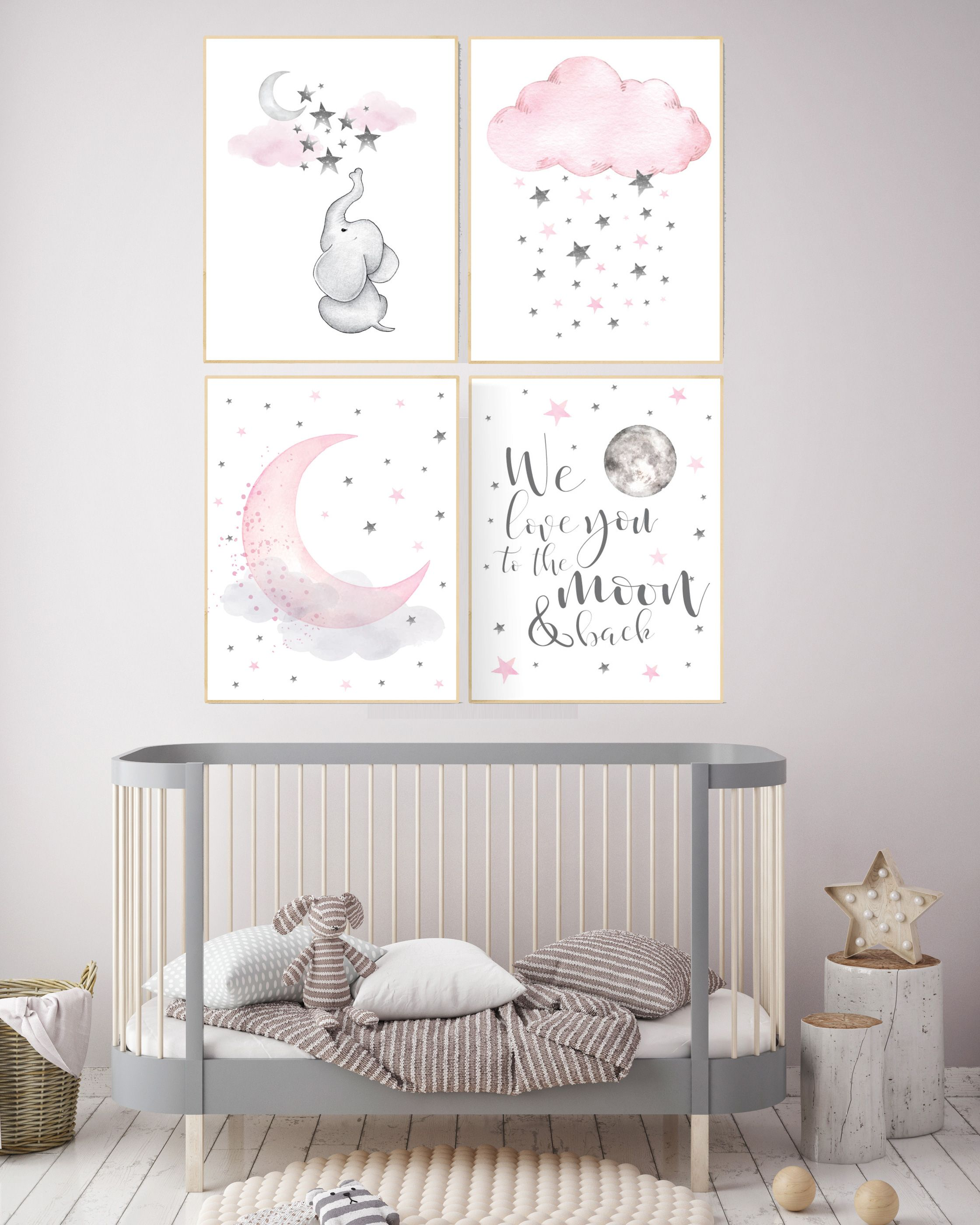 Nursery decor elephant, nursery decor girl elephant, we love you