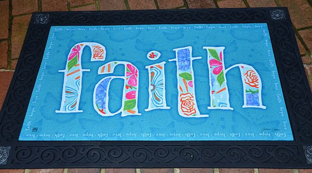the Faith outdoor garden mat: My new Faith design for Magnet Works garden products in memory of Sloan Preston Chambers...you can read the story here; thank you for your support! This design is also available as a garden flag and a garden stake.