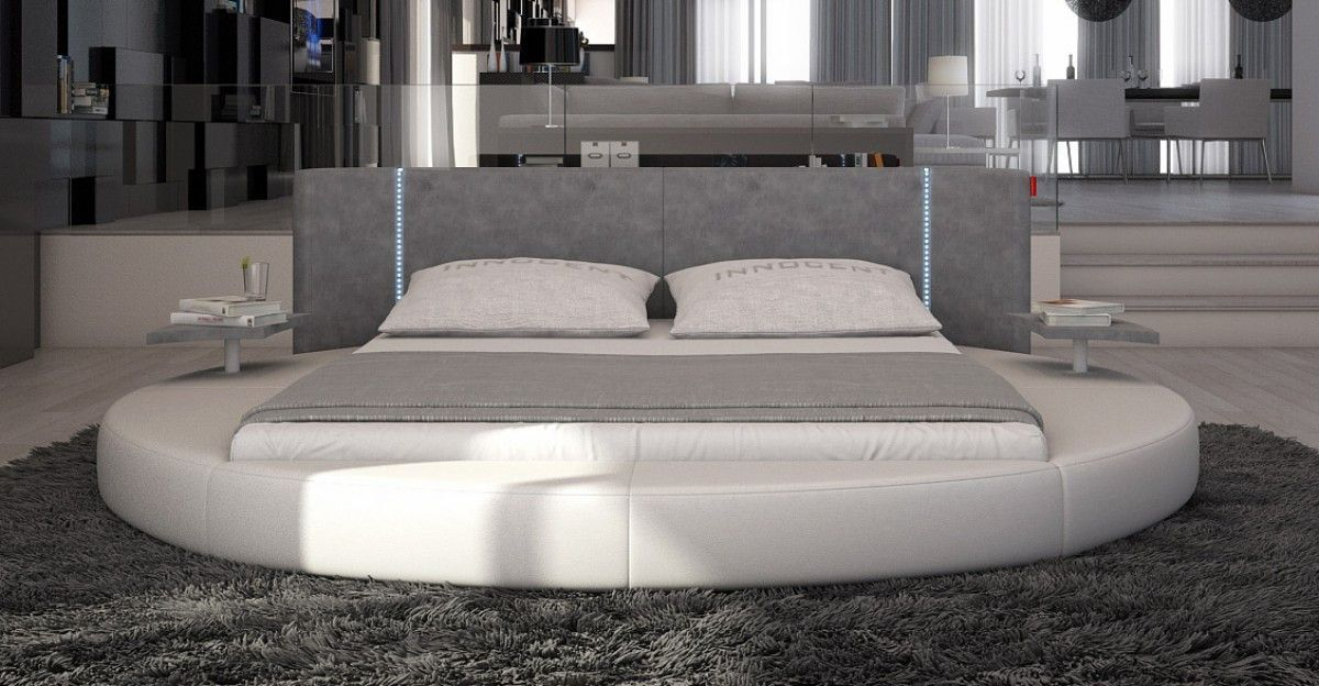 Modret Rotondo Modern Eco Leather Queen Size Bed With Led Lights