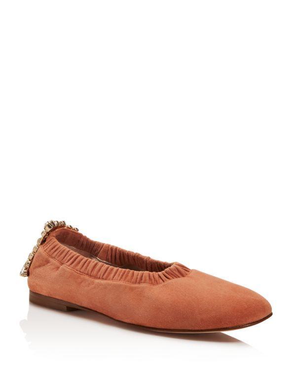 Stuart Weitzman Women's Dixie Embellished Square Toe Flats B96bsQ5NdA