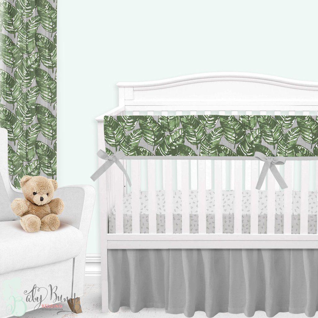Grey Green Palm Leaf Gender Neutral Crib Bedding Set Baby Girl