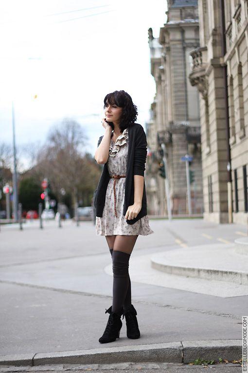 acf11d41d3a Jambières chaussettes hautes sur collants opaques Chaussette Haute Femme