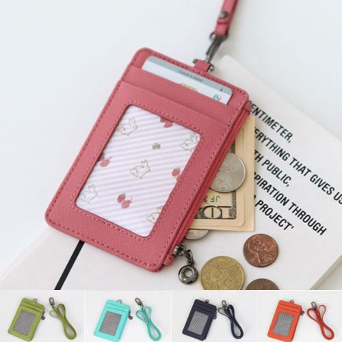 Genuine Leather Mens Wallet ID Badge Window Coin Pocket Card Holder Neck Strap