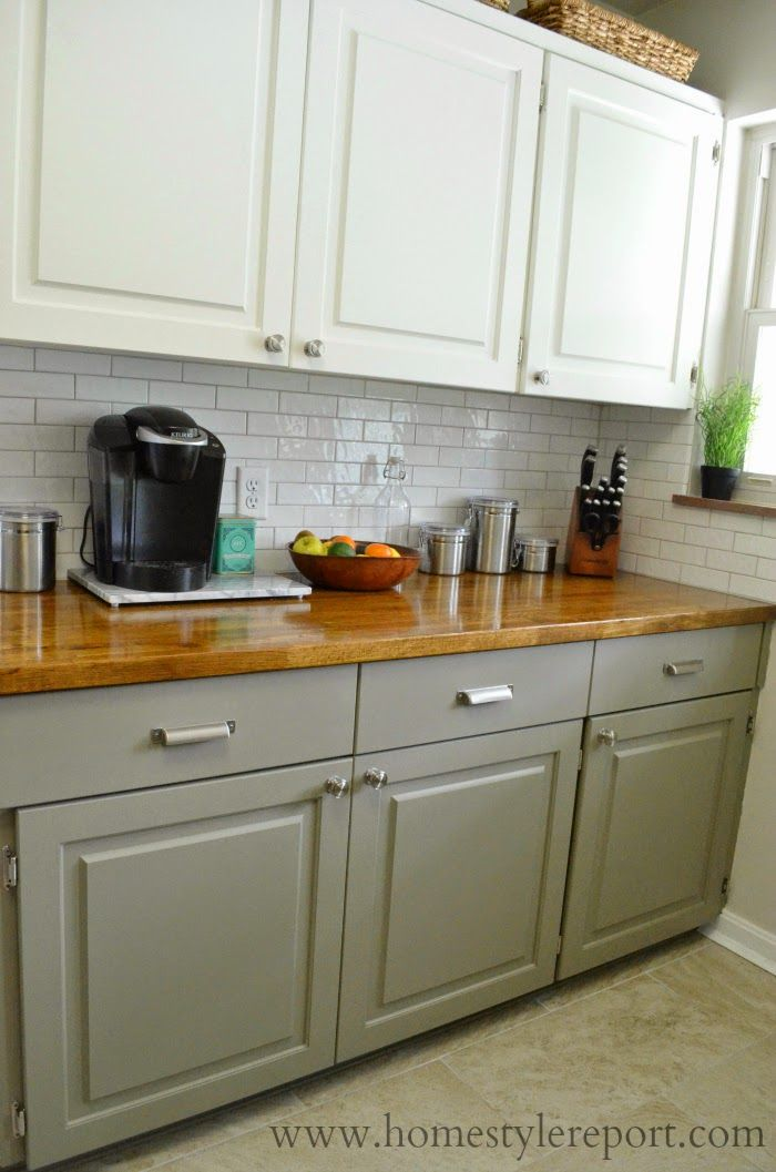 Two Toned Kitchen In White Soft Blue Green And Natural Woods Green Kitchen Cabinets Kitchen Design Small Kitchen Remodel