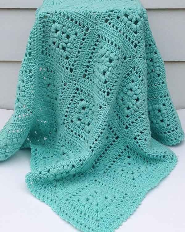 Baby Puff Square Afghan Crochet Pattern | Manta, Colchas y Cobija