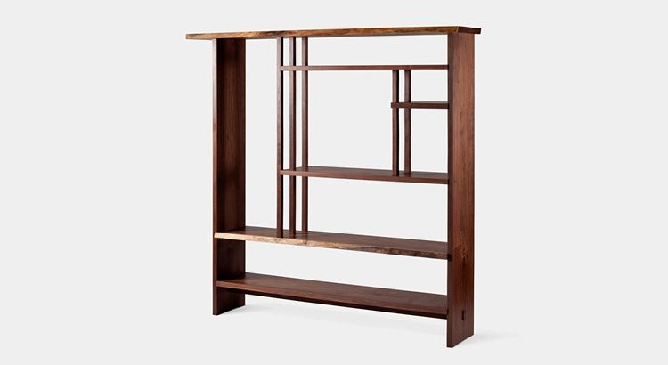 Furniture chigaindana shelf 1 a walnut shelving unit for Traditional japanese furniture