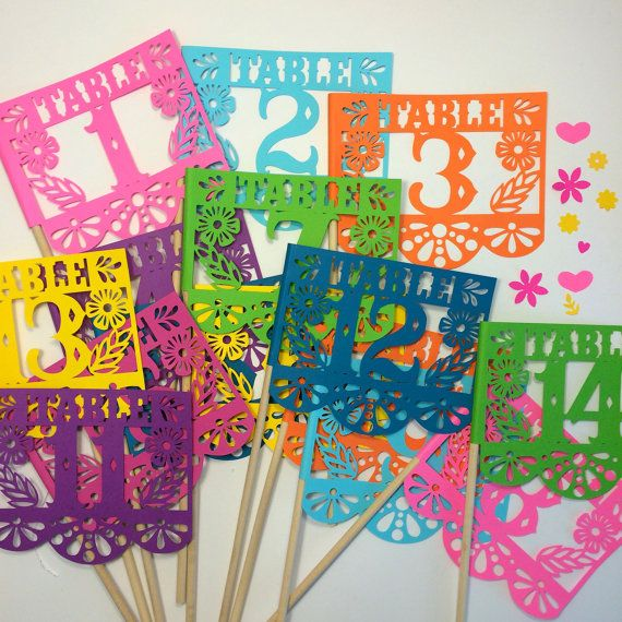 Mexican Wedding Table Numbers, Papel Picado, Mexican