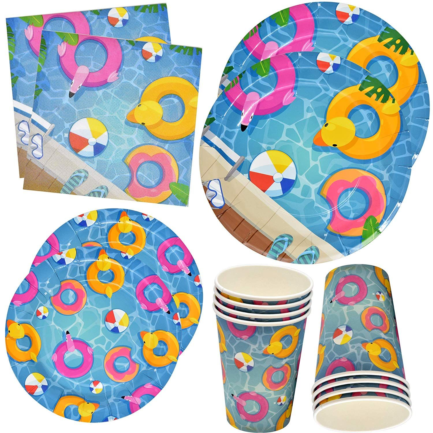 Pool Beach Summer Party Supplies Set Includes 24 9 Plates 24 7