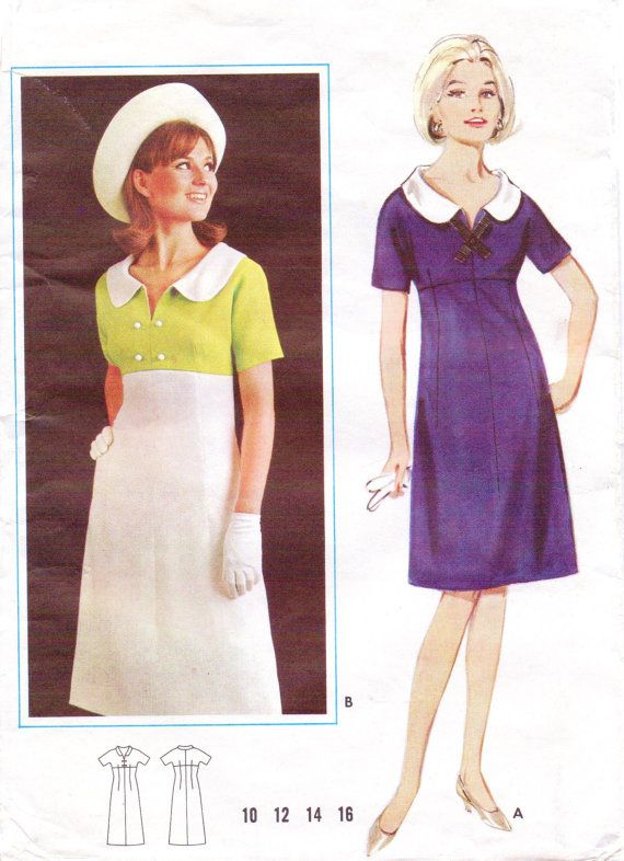 Vintage 60s Butterick Sewing Pattern 3398 Womens Mod Modrian Color ...