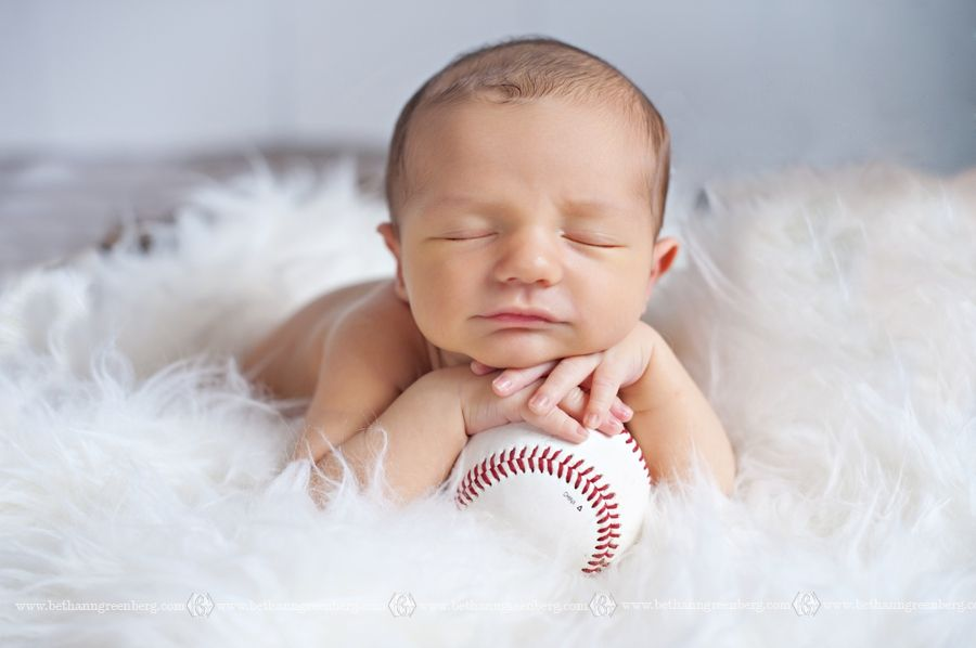 Baby boy newborn session bethann greenberg photography san diego newborn photographer baseball hands under chin