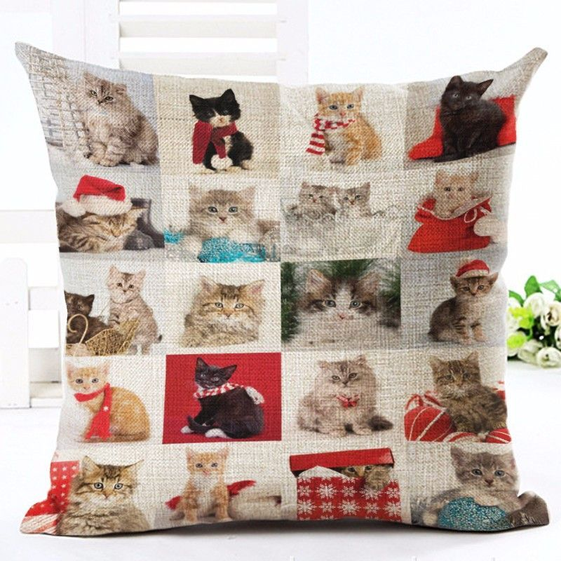 These fun, christmas cat throw pillows look purrfect anywhere! Grab a few of them today! Filling: Cotton Pattern: Printed Shape: Square Type: Cushion Style: Europe Care Instructions: Removable and Was