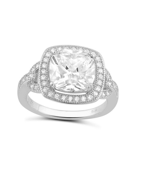 Sterling Silver Cz Bar Statement Ring (Size 4 - 9
