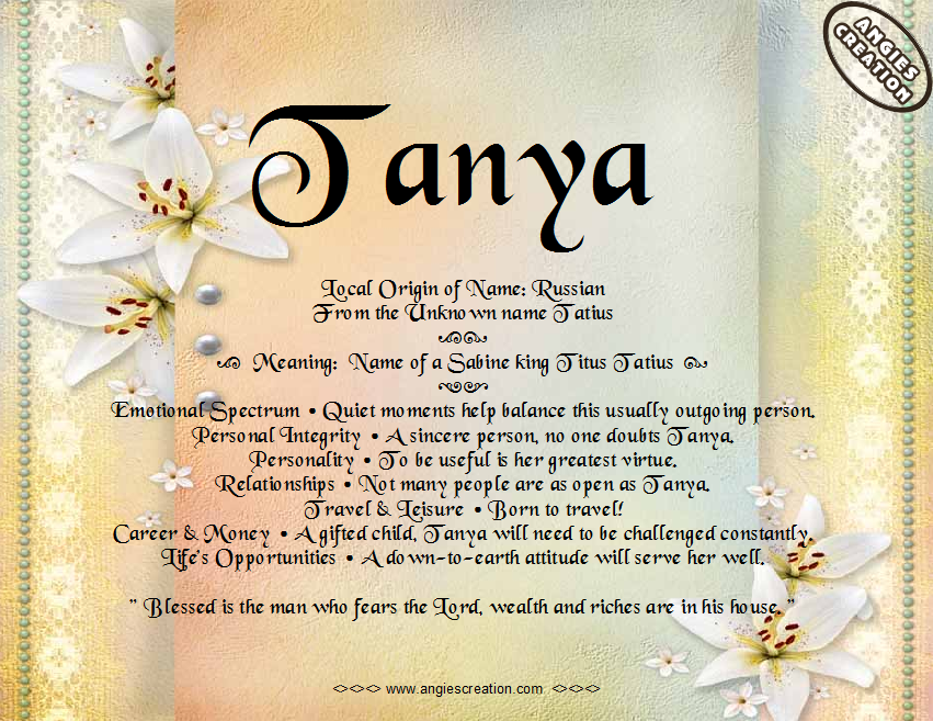 the meaning of the name - tanya | recipes to cook | pinterest ... - Letti Name Meaning