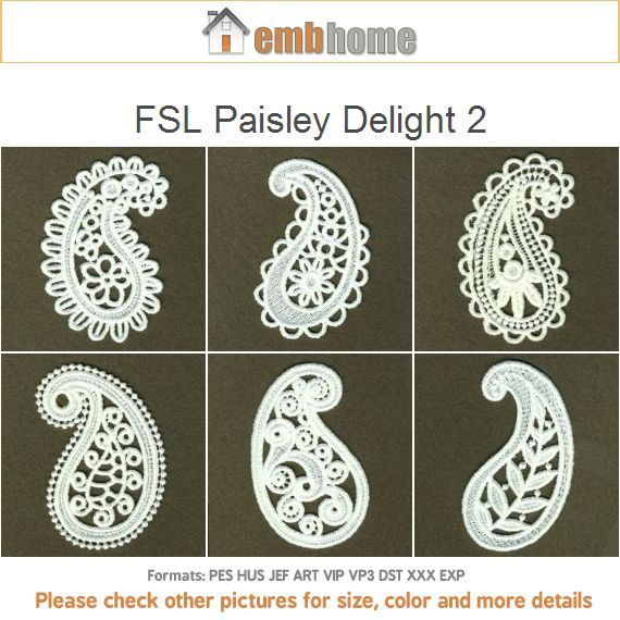 Fsl Paisley Delight 2 Free Standing Lace Ornament Machine Embroidery