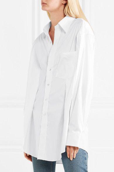 Secretary Oversized Stretch Cotton-blend Shirt - White VETEMENTS Cheap New Styles lZRt6LnlL