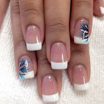 french nails with design on ring finger - Google Search | Nails ...