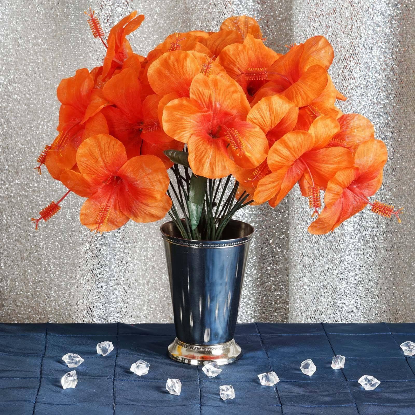 60 Artificial Silk Hibiscus Flowers Orange Hibiscus Bush