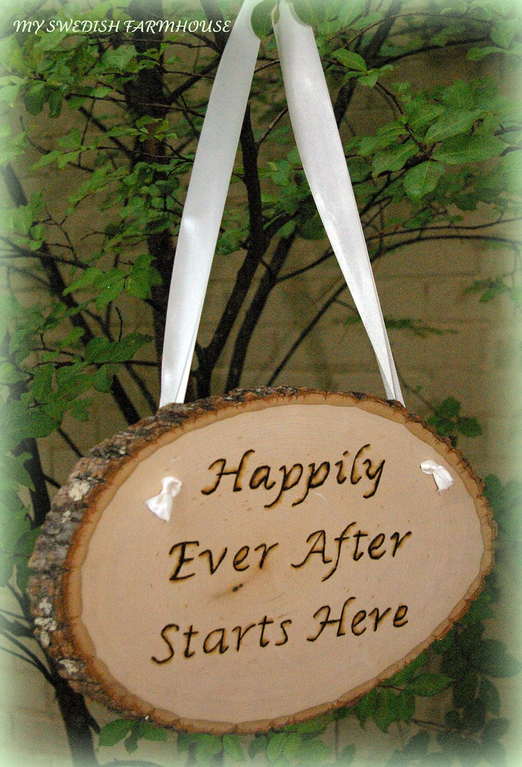 Happily Ever After Starts Here Large Wood by MinSvenskaLandgard