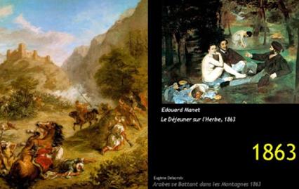 """è abbastanza singolare che nel 1863 ci sia ancora Eugène Delacroix che dipinge con stile storico e romantico. Da un lato c'è la tradizione di un arte che si sente obbligata a raccontare il presente dall'altro un modo di fare arte nuovo che non sente più l'obbligo di raccontare la storia. Manet porta due coppie in un parco, è gente nuova, vengono definiti borghesi, hanno inventato un qualcosa che cambierà il futuro, si chiama """"tempo libero""""."""