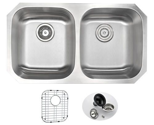 Anzzi Moore Undermount 32 Stainless Steel Double Bowl Kit Double Bowl Kitchen Sink Stainless Steel Kitchen Sink Undermount Double Bowl Undermount Kitchen Sink