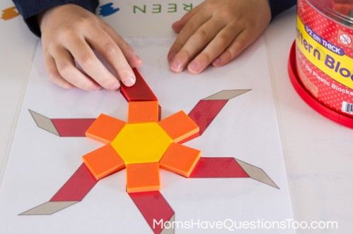 Sun - Spring Pattern Blocks Templates - Moms Have Questions Too - pattern block template