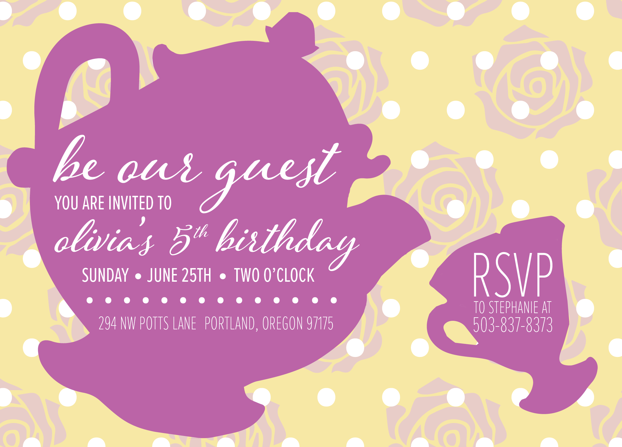 Be Our Guest Birthday Tea Party Invite / Beauty And The Beast Invitation / Princess Belle Bday / Mrs. Potts / Disney / Digital PDF File