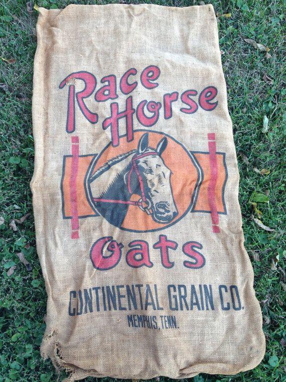 Race Horse Feedsack Burlap Feed Bag