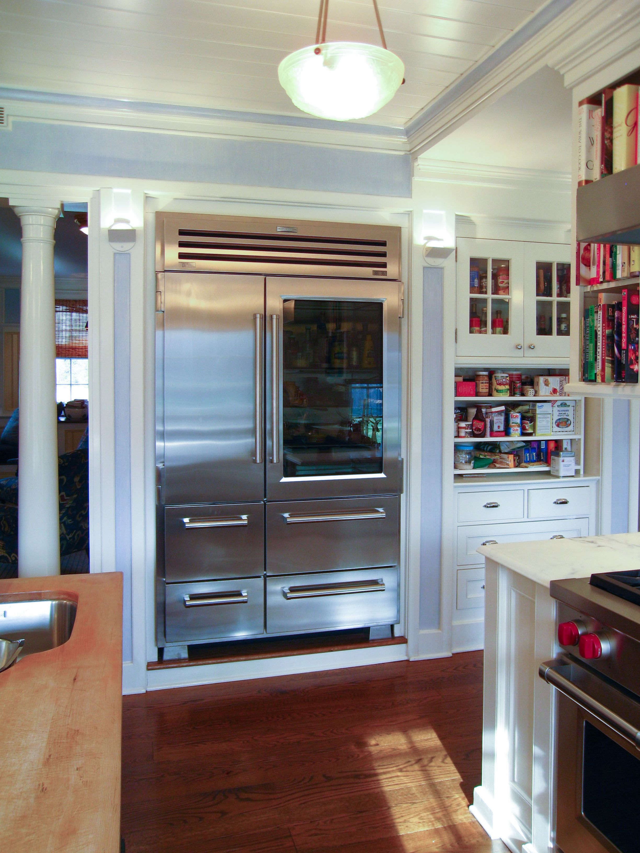 fresco of stylish design of glass door refrigerator residential