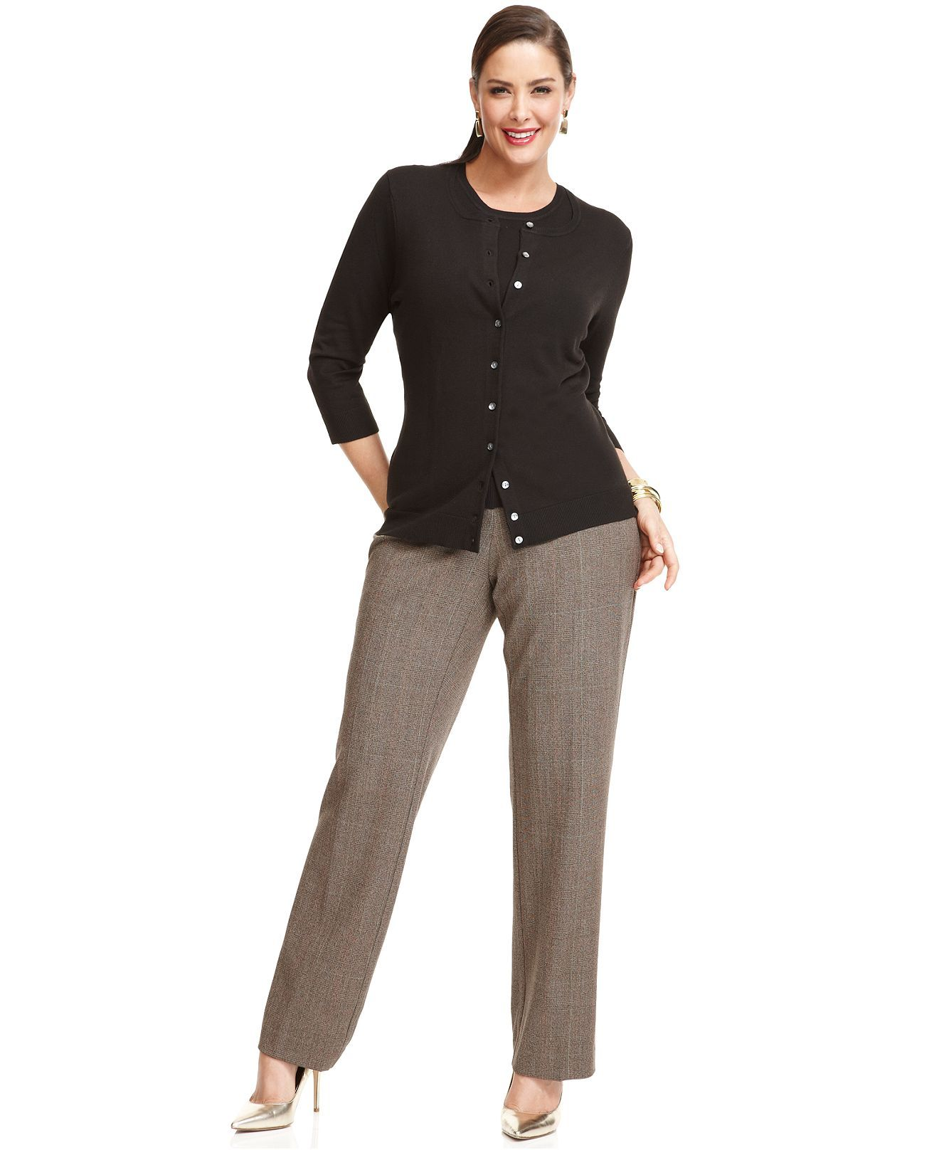 Work Your Wardrobe Plus Size Twinset & Trousers Look - The Layering Cardigan - Plus Sizes - Macy's