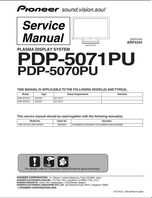 Pioneer PDP-5070PU \ PDP-5071PU Kuro , Service Manual in PDF 100 - operation manual