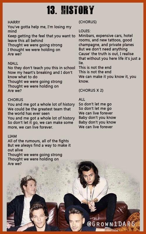 1d Mitam History Lyrics One Direction Lyrics One Direction Songs One Direction Quotes