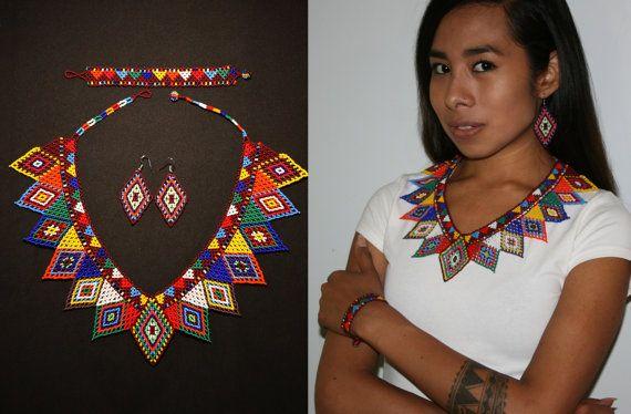 Joyería, joyería nativa, conjunto de joyas estilo Tribal africano, V con cuentas pendientes pulsera de cuentas tribales joyería geométrica, el Embera