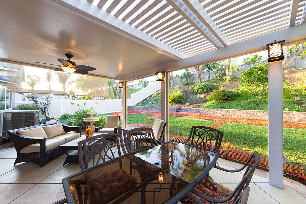 Half solid & half open patio cover