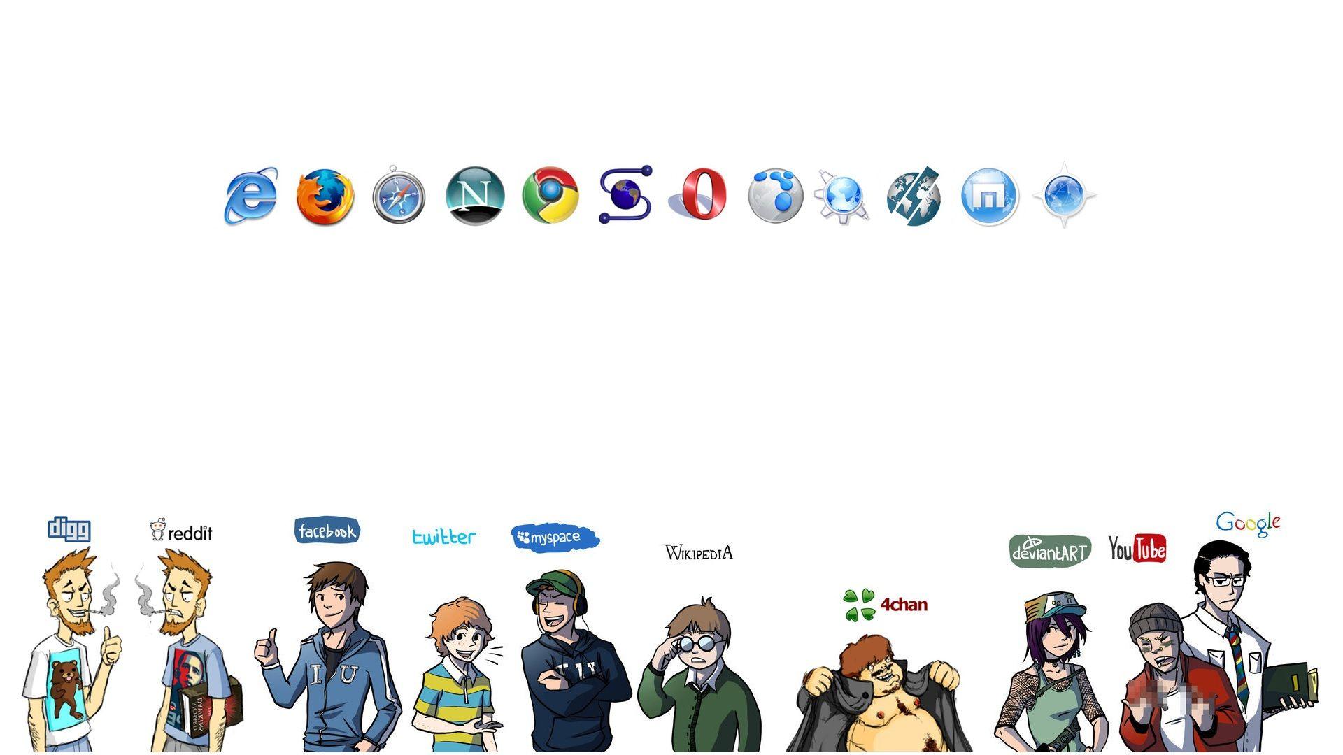 Facebook Opera web browser Firefox Google Youtube Twitter