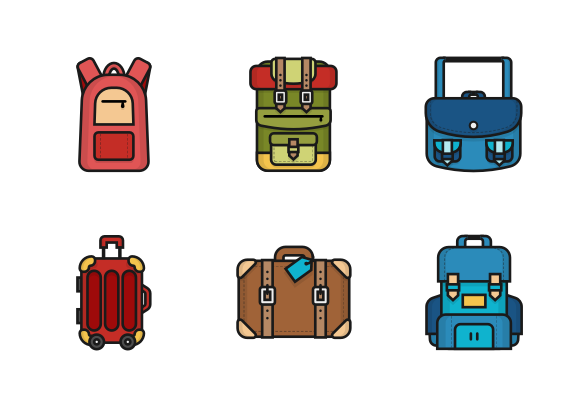 Backpack And Bag Icons By Vintagio Design Bag Icon App Icon Design Icon