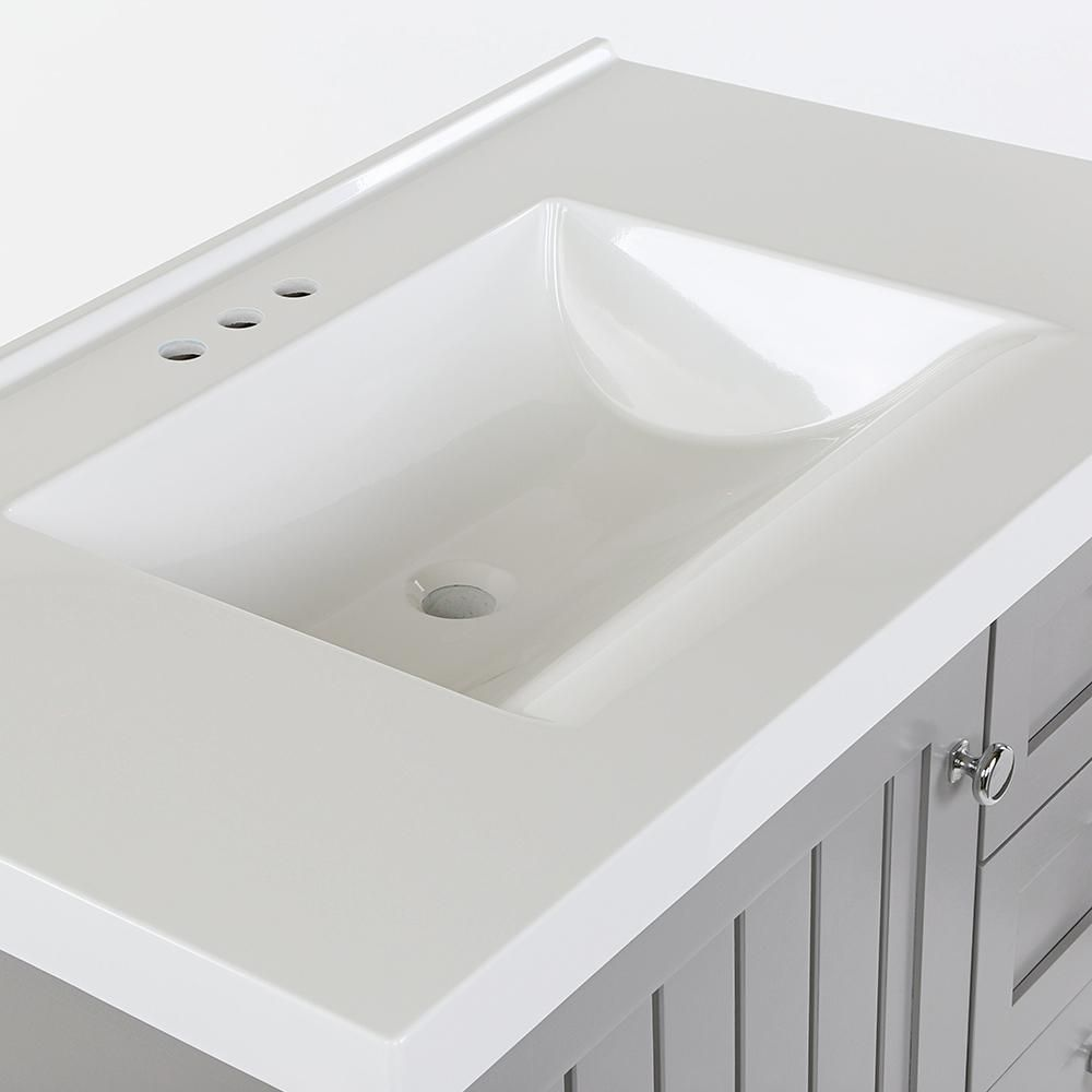Home Decorators Collection Lanceton 37 In W X 22 In D Bath Vanity In Sterling Gray With Cultured Marble Vanity Top In White With White Sink Lt36p2v1 St The In 2020